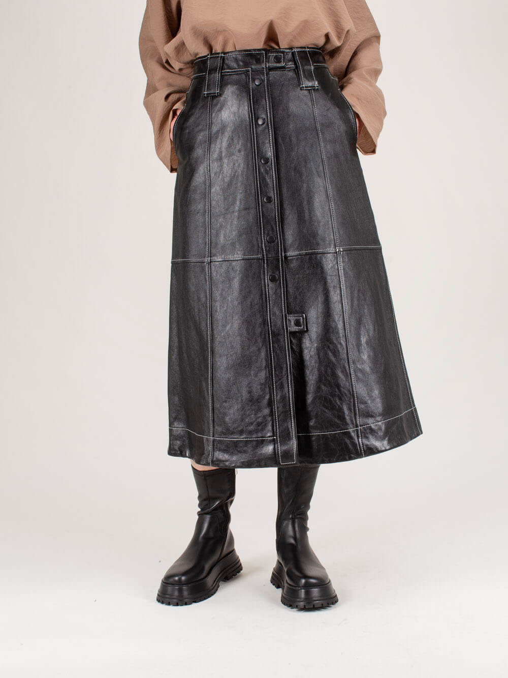 Ganni LAMB LEATHER SKIRT BLACK