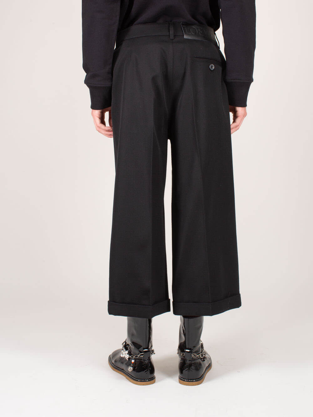 LOEWE Flared pants CROPPED FLARE TROUSERS BLACK