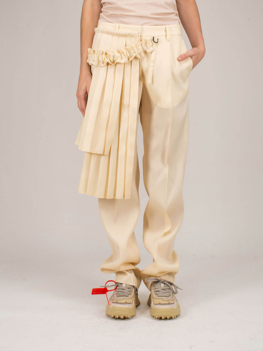 Off-White Pants GABARD CURTAINS PANEL PANT BEIGE