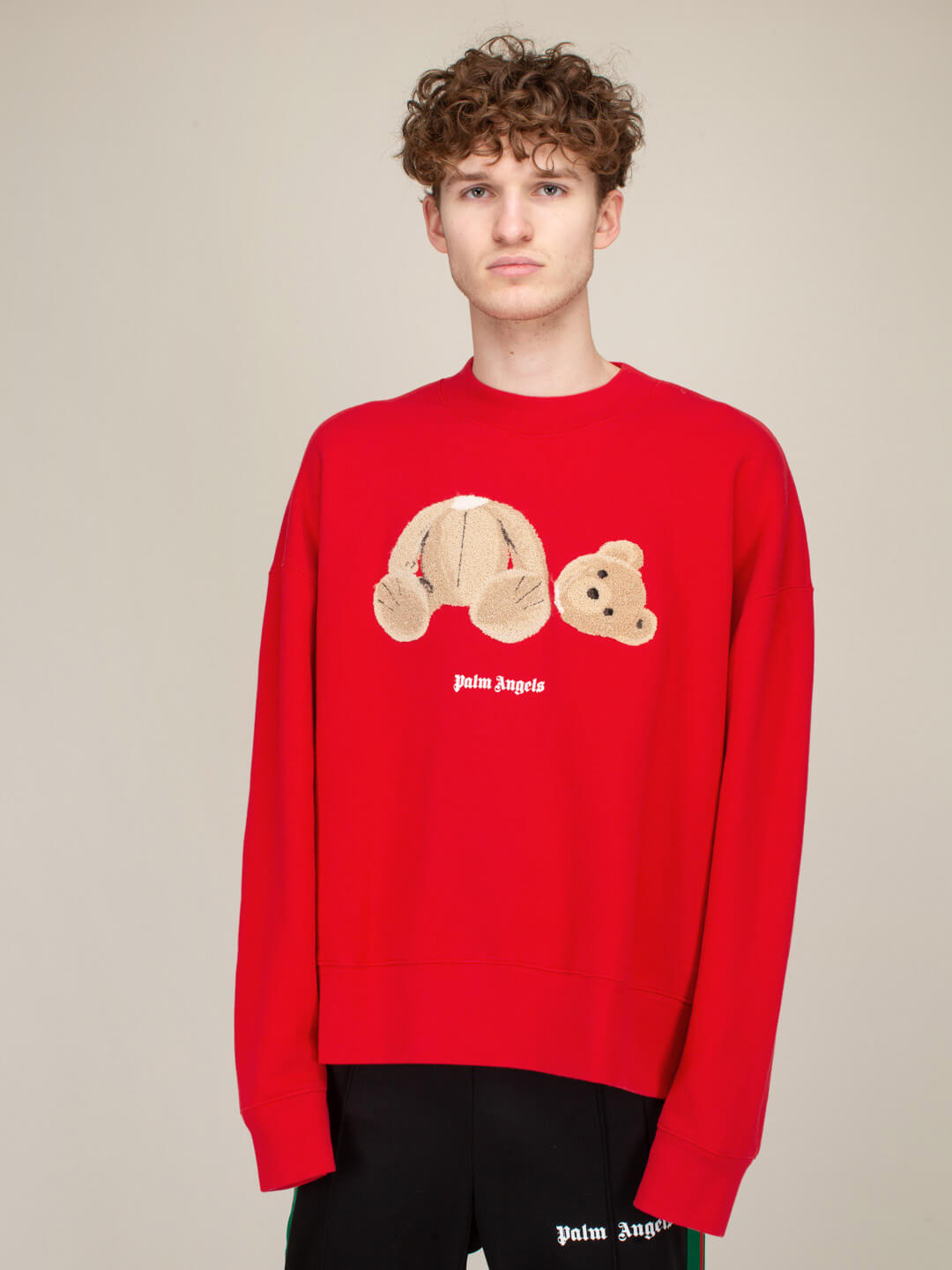 Palm Angels Cottons PALM ANGELS BEAR CREWNECK RED