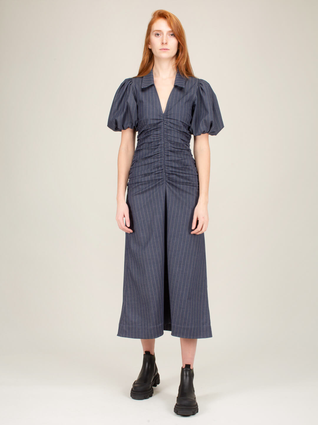 Ganni STRETCH STRIPE DRESS BLUE