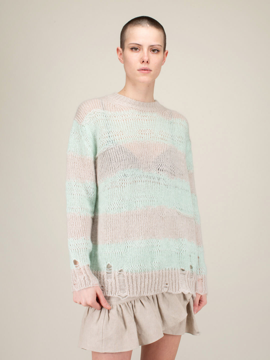 Acne Studios KNIT SWEATER MINT GREY