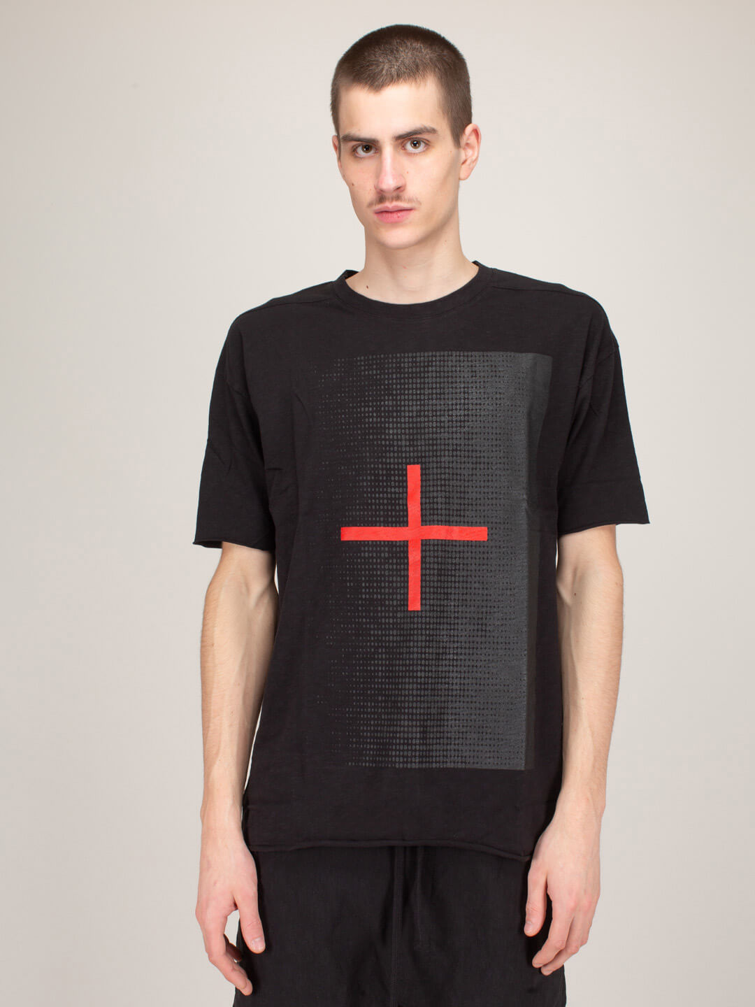 Thom Krom T-SHIRT BLACK RED CROSS