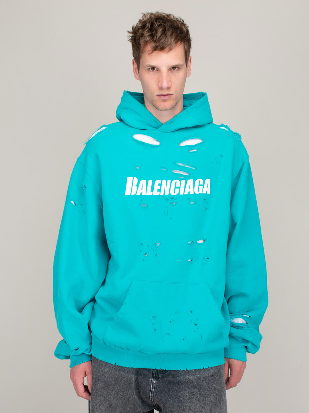 Balenciaga Cottons DESTROYED HOODIE TURQUOISE
