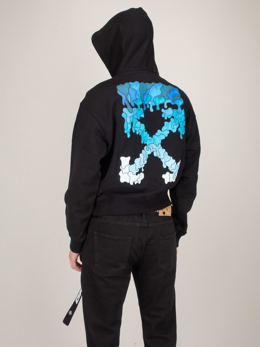 Off-White Cottons MARKER OVER HOODIE BLACK BLUE