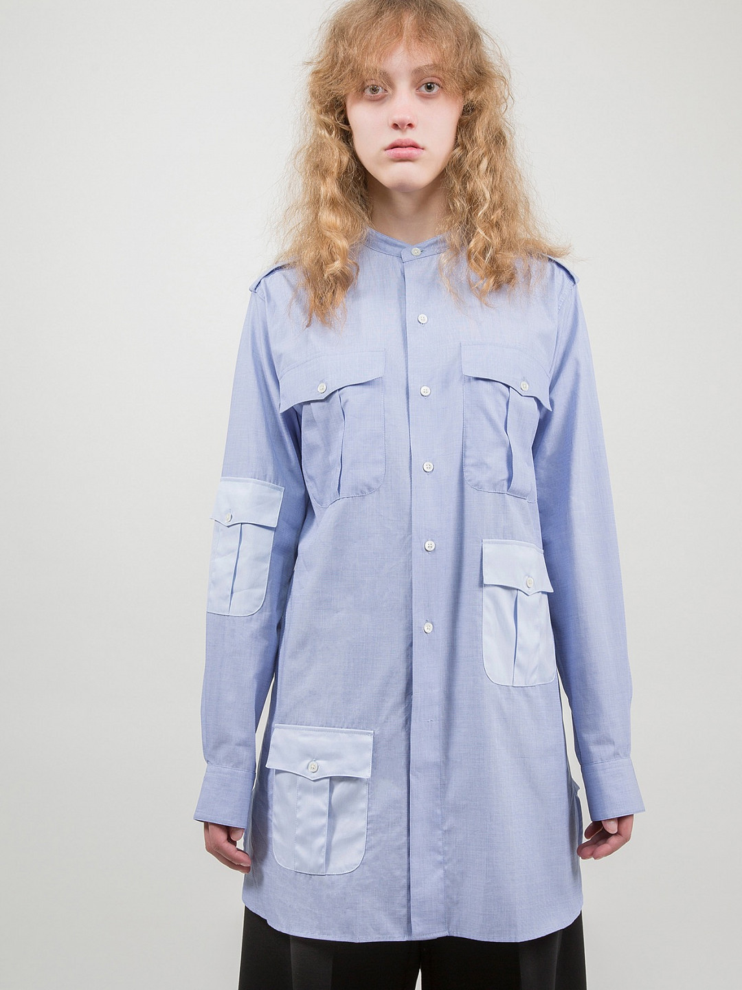 Contrast Workwear Long Shirt