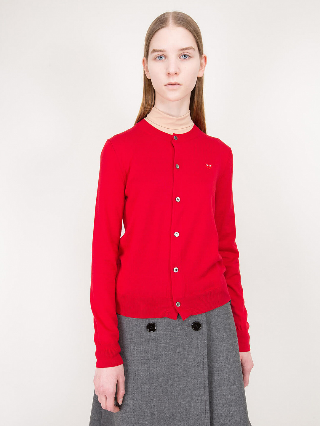 Knitted Cardigan Heart red