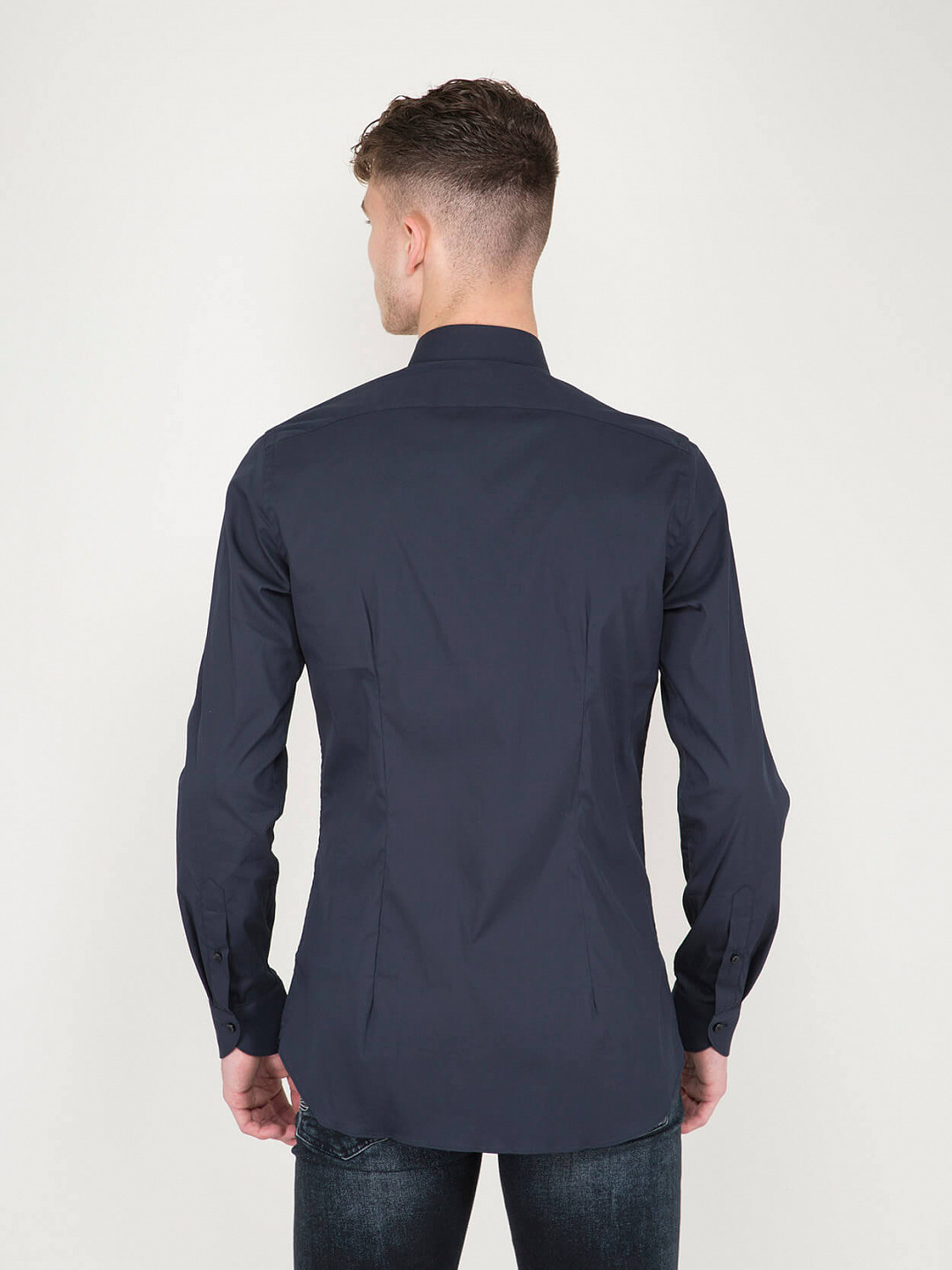 Business Tailor Fit Stretch Shirt navy