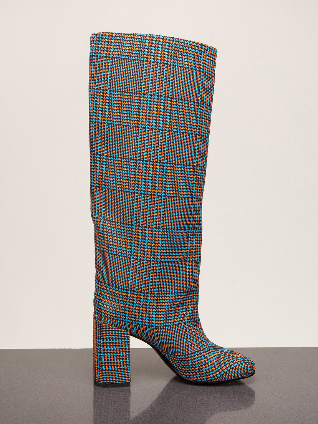 Checked Heeled Boots
