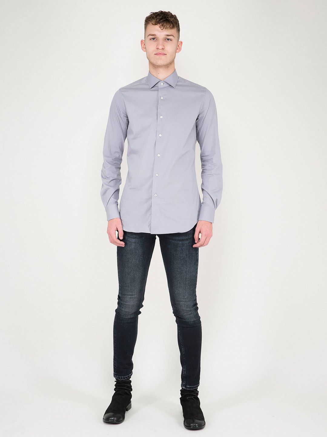 Business Tailor Fit Stretch Shirt blue grey
