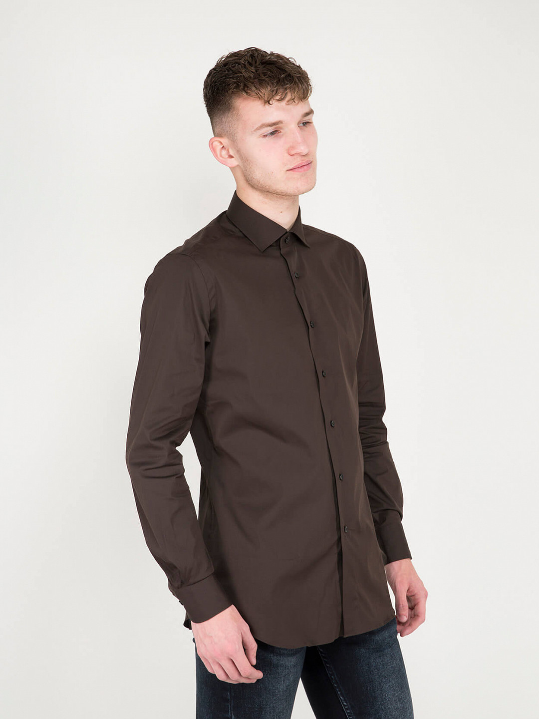 Business Tailor Fit Stretch Shirt brown