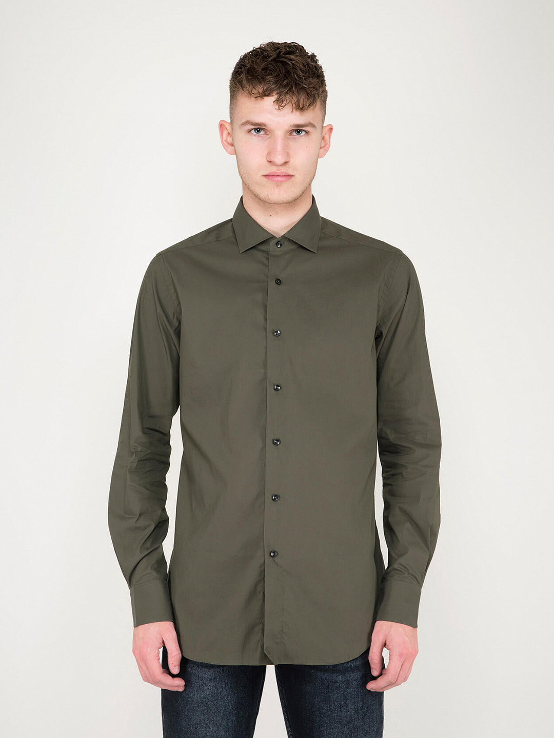 Business Tailor Fit Stretch Shirt green
