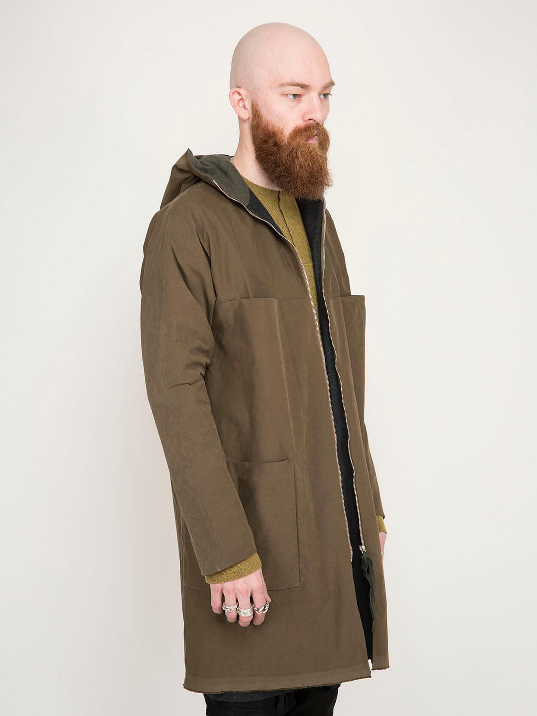 4 Pocket Zipped Coat military