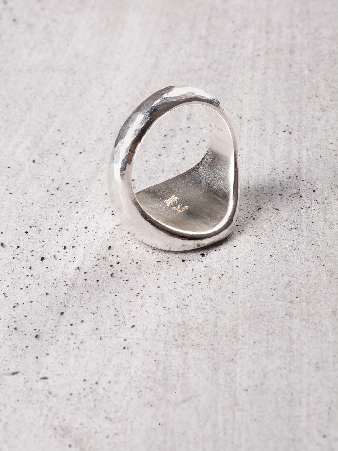 Signet Ring Oval Hammered Silver