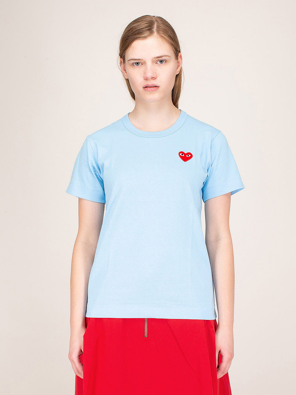 Ladies Tee Blue Red Heart