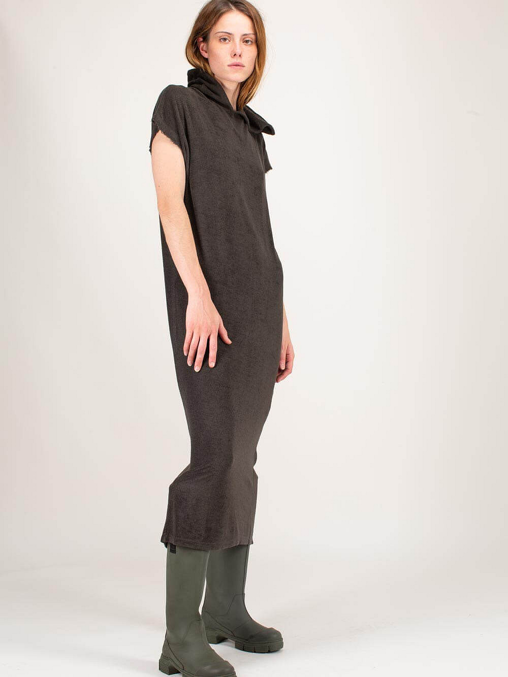 Hooded Bamboo Dress worked green