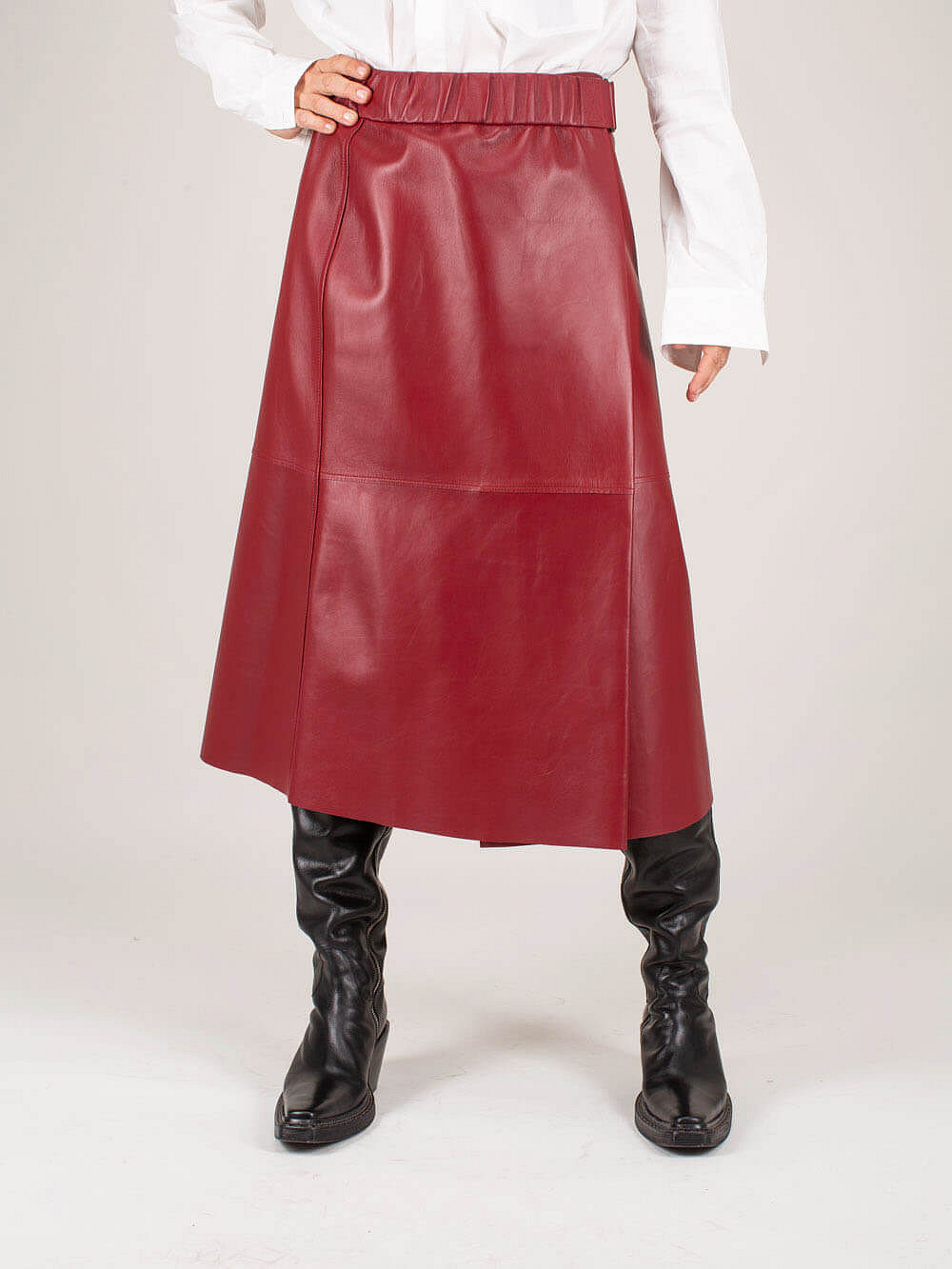 Leilani Skirt wine red Leather