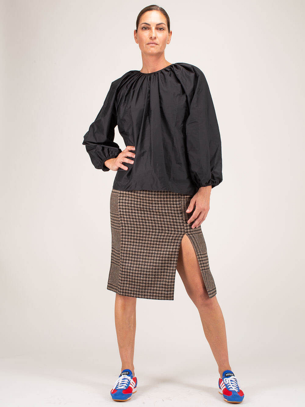 Pipe Skirt beige Duo Check