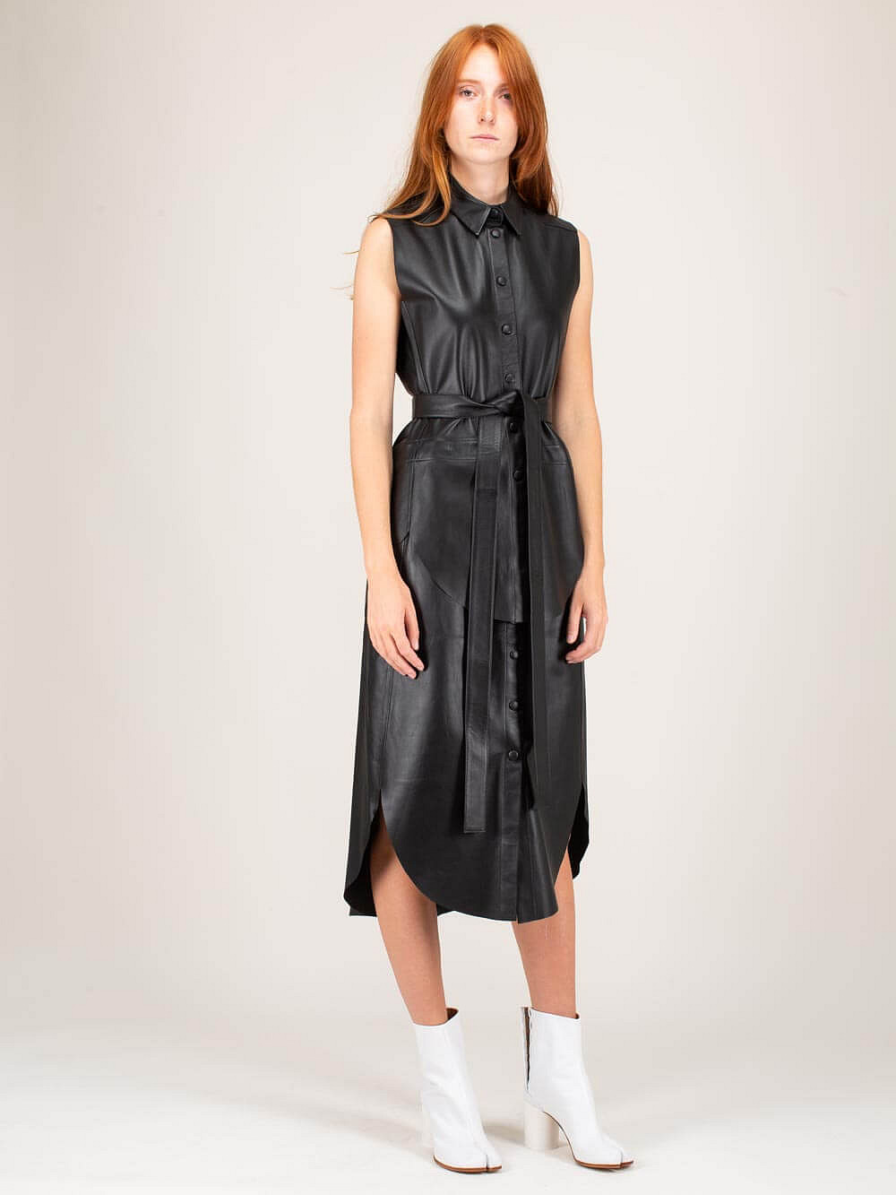 Two Parts Dress Leather black