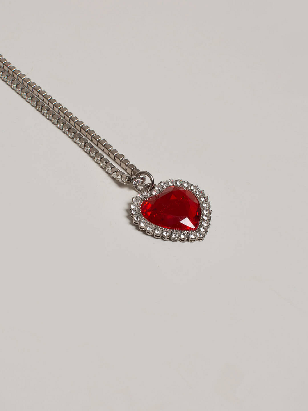 Crystal Heart Necklace dark red