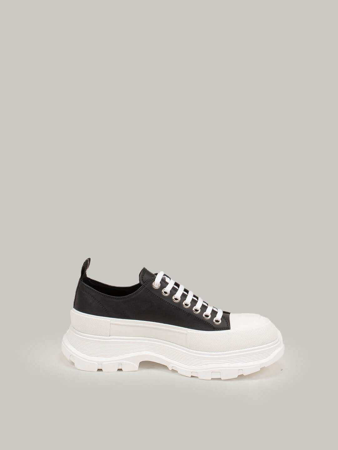 black Low Top Lace Up Sneaker white Sole