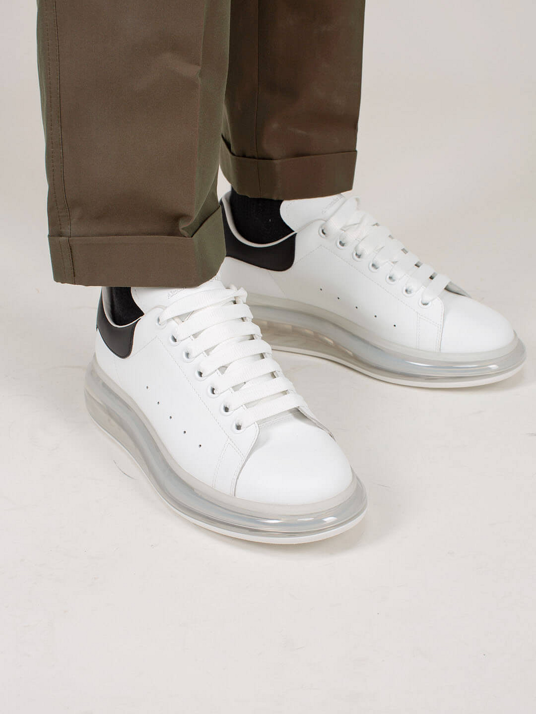 white Low Top Lace Up Sneaker black Transparant Sole