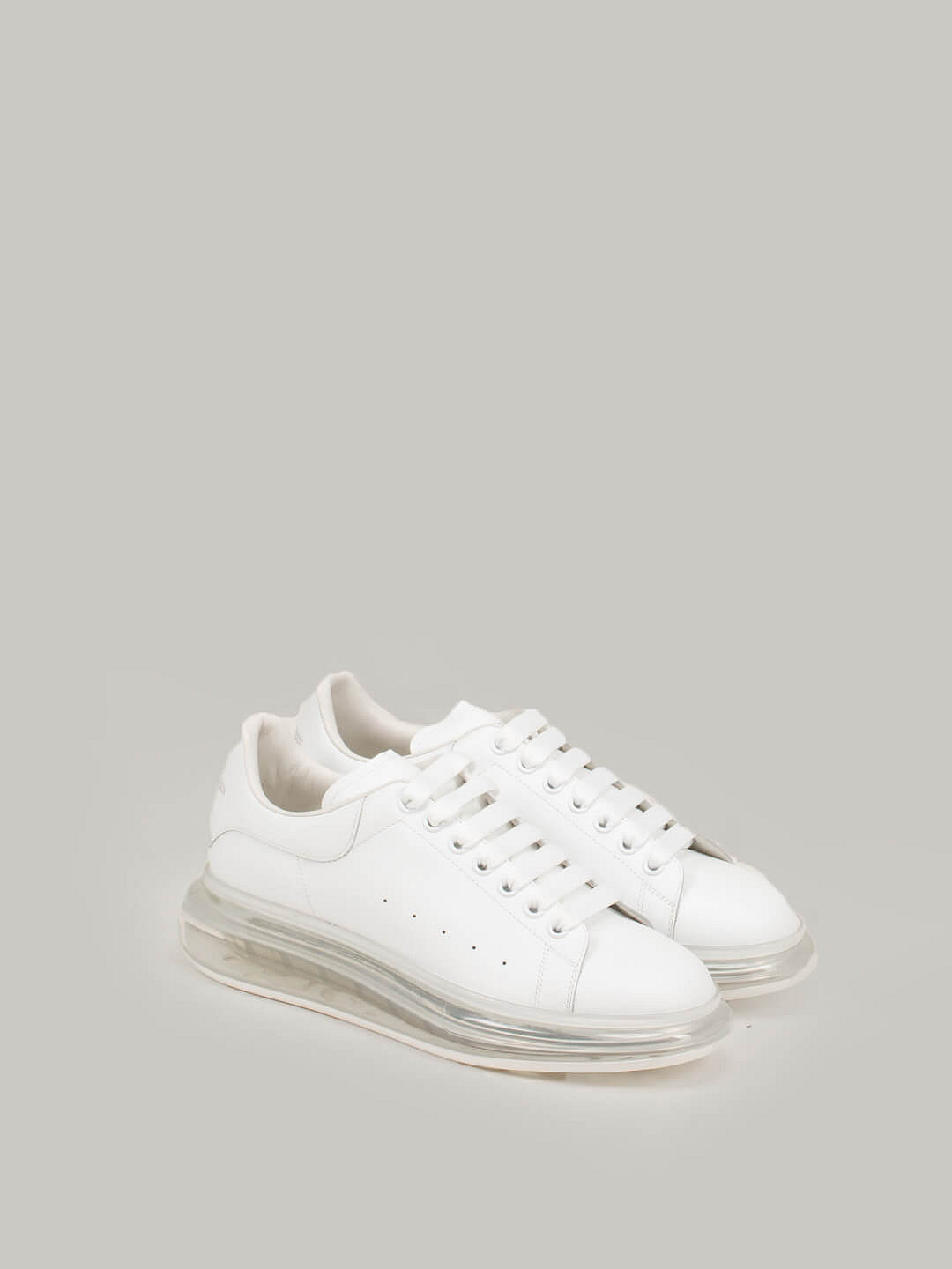 white Low Top Lace Up Sneaker Transparant Sole