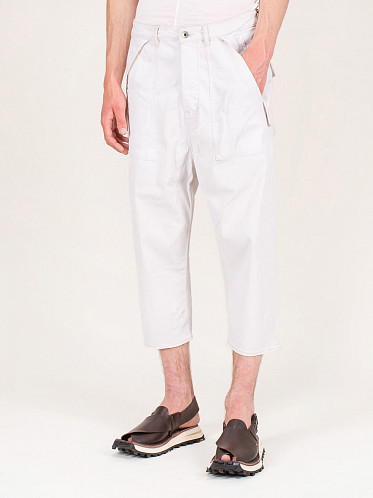 Cargo Collapse Cropped Jeans White Wax
