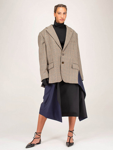 Tailoring Cut Out Jacket Check