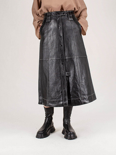 Lamb Leather Skirt black