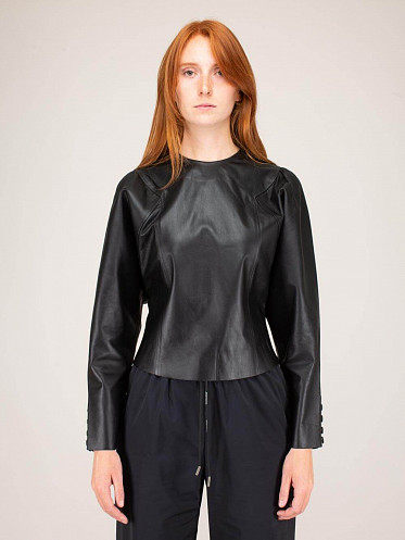 Service Leather Blouse black