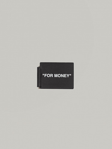 Calf Skin Quote Bill Clip Wallet black