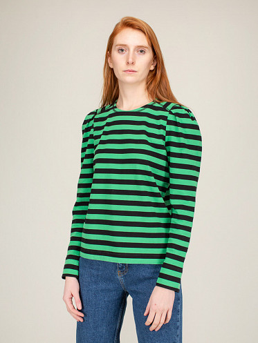 Striped Cotton Jersey kelly green