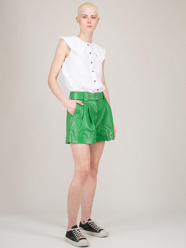 Cotton Poplin Shortsleeve Top bright white