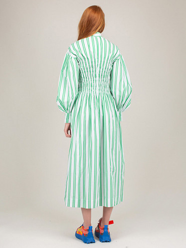 Stripe Cotton Dress kelly green