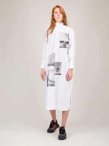 Printed Cotton Poplin Dress white