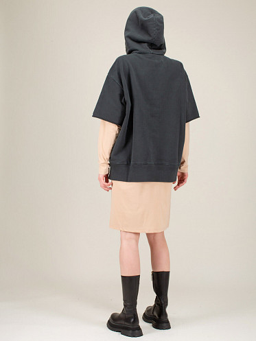 Garment Dyed Sweat Oversized Fit black nude