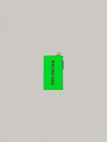 Cash Case On Keyring fluo green
