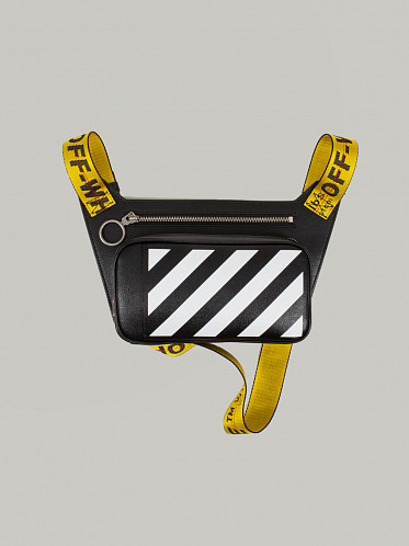 Diagonal Leather Bodybag black white yellow