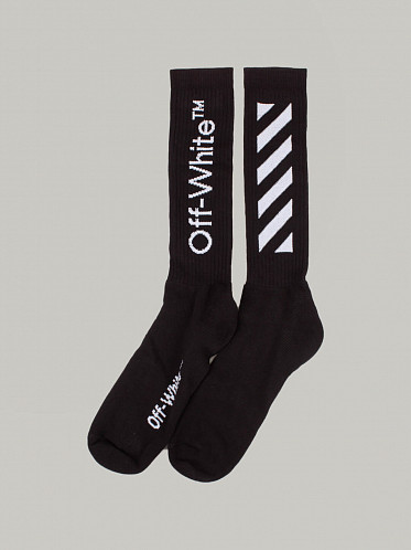 Diagonal Mid Length Socks black