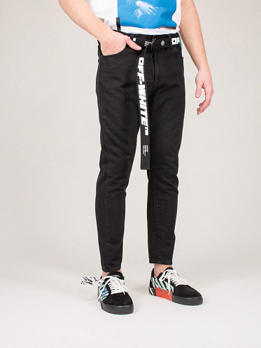 Slim Low Crotch Jean black white