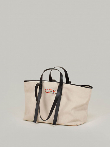 Canvas Commercial Tote beige red