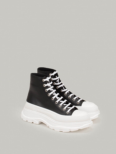 High Top black Lace Up Sneaker white Sole
