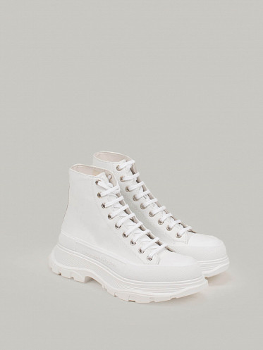 High Top Lace Up Sneaker All white