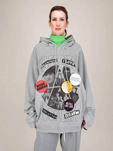 Destroyed Welcome Home Over Hoodie grey