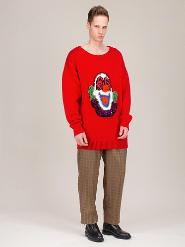 Pull Col Rond Oversized red