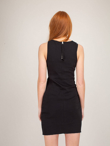 Sleeveless Dress Zipper Pocket black