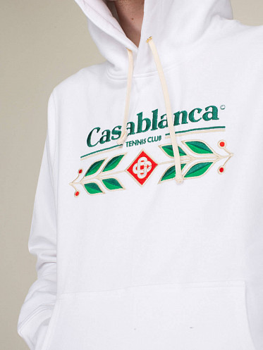 Laurel Embroidered Hoodie white