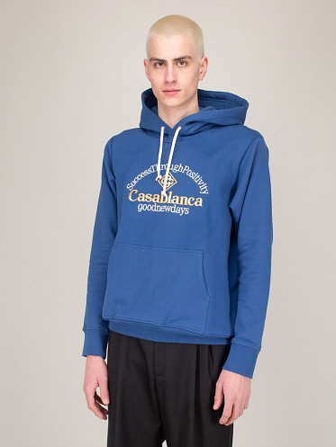 Success Through Pos Embroidered Hoodie blue