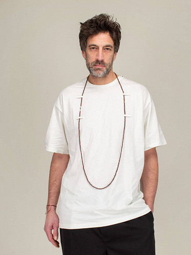 Short Sleeved T-Shirt With Beaded Chain